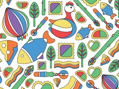 Pasta Pattern simmer bright rainbow colorful ravioli pasta restaurant pattern icons