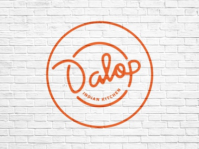 Dalop Logo indian fast casual restaurant food plate badge eat script logotype simmer nyc