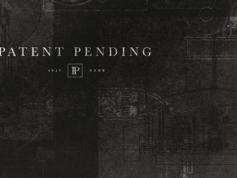 Patent Pending Branding patent pending nyc tesla monogram p grid alcohol drinks speakeasy bar patent