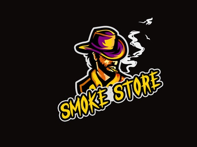 smoke store branding vector illustration shop mascot design logo mascot logo cartoon character