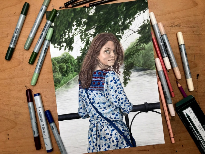 A Portrait faber castell fabercastell copic copicmarkers colored pencils colored pencil coloredpencil illustration traditional art