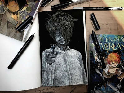 The Promised Neverland - Ray fanart fan art penandink pen and ink illustration traditional art