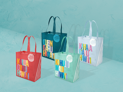 Whole Foods Hawaii Bags product graphic design typography