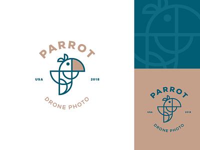 Parrot - Drone Photo design logo lines visual identity drone logo circle logo parrots logo parrot branding