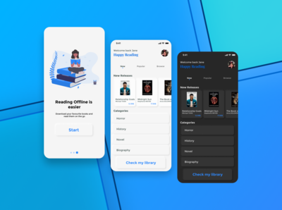 Book Shopping App Concept library reading app book cover bookshelf bookshop bookstore reading books animation illustration android ux ui design branding app