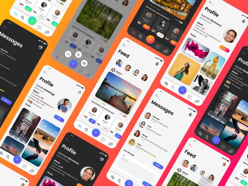 Social Media app concept (1) concept ios mobile illustration android ux design branding app animation social media design social ui friends social media socialmedia
