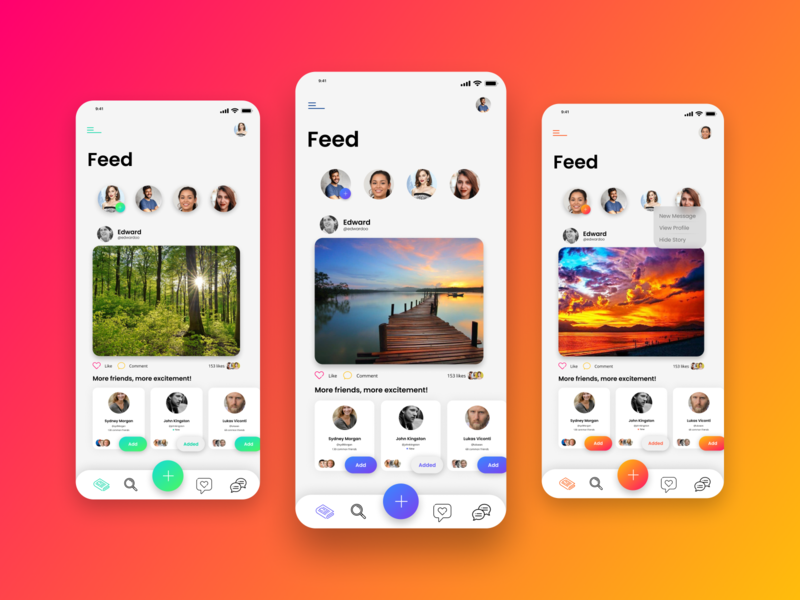 Social Media app concept (5) : Feed Layout snap pictures lightmode themes social media socialmedia social mobile illustration animation android ux ui design branding app
