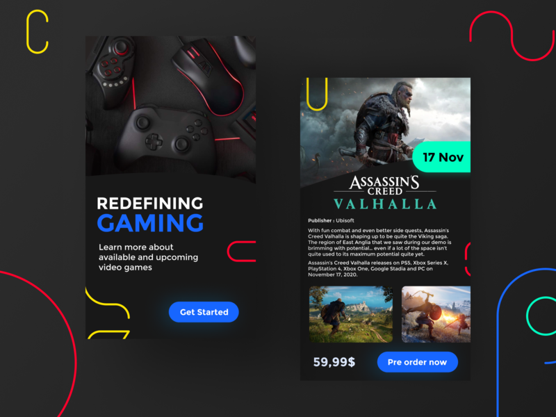 Video games companion - App design game store gaming app mobile branding design android ux uiux ui assassins creed videogame