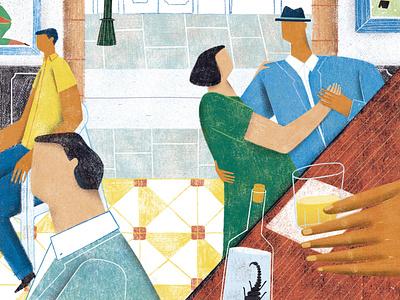 Downtown Mexico city Cantinas digital illustration editorial illustration illustraion