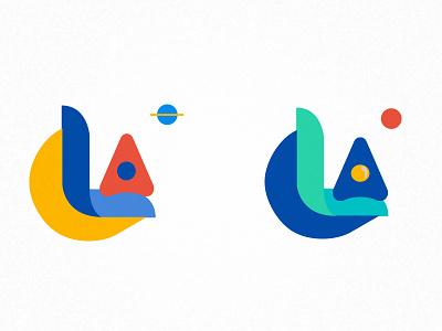 Launch platform concept flat logo