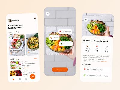 Healthy Food Scanner App scanning food nutrition health eat vegetables vegetable app mobile ui mobile app design app design uiuxdesign uiux ux ui