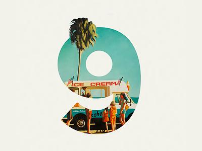 Number 9, Venice Beach waves sand sky ice cream palm beach venice 9