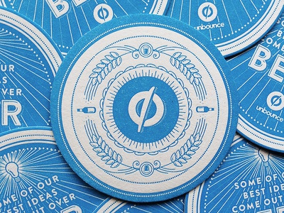 Beer o'clock 1/2 unbounce illustration illustrator beer coaster letterpress design