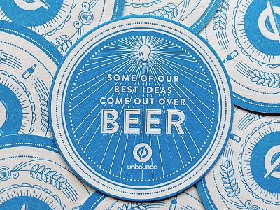 Beer o'clock 2/2 illustration illustrator beer coaster letterpress unbounce design