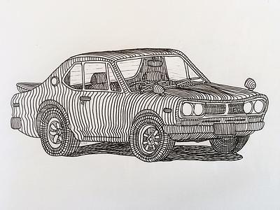 1972 Nissan Skyline GT-R illustration drawing pen paper car nissan