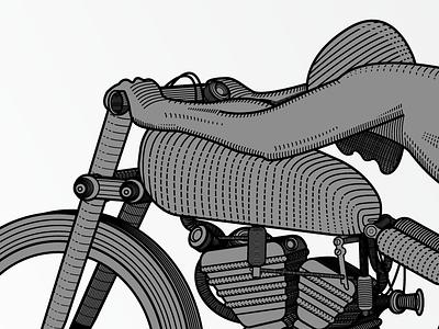Woodcut Rollie Free Wallpaper  illustration illustrator design motorcycle racing bike woodcut