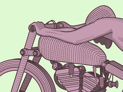 Woodcut Rollie Free Wallpaper - Retro illustration illustrator design motorcycle racing bike woodcut retro