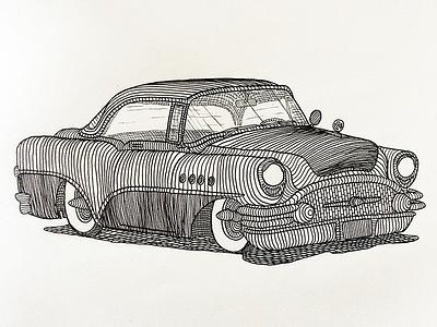 1955 Buick illustration car buick classic pen paper drawing