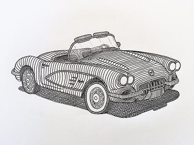 1959 Corvette illustration art pen paper classic car