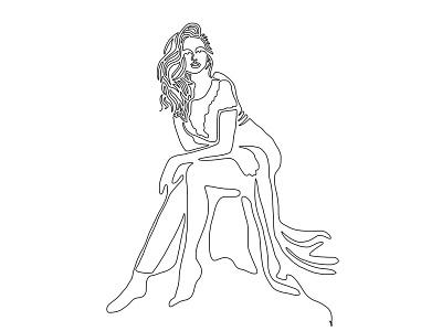 One line - 17 tumblr women pinup illustration design art line