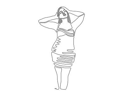 One line - 19 line tumblr women pinup illustration design art