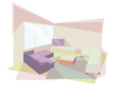 Our living room retro vancouver furniture interior summer illustration
