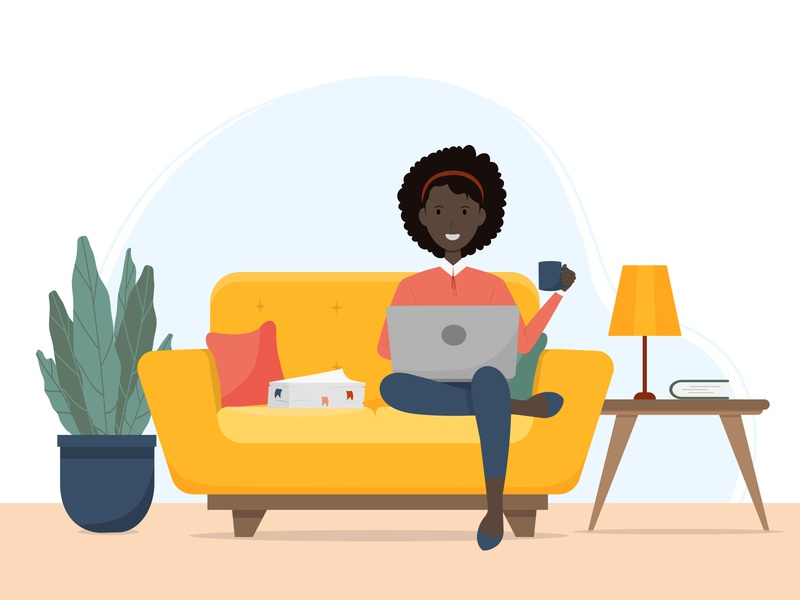 Home work design flat designs home work african woman woman cure illustration flat character concept