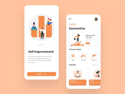 Self Improvement App Design service self improvement app design mobile app design app designers self improvement android app mobile app illustration design concept clean concept application app development app developer designers appdesign app concept