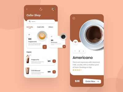 Coffee Shop App Design app app designers app developer illustration clean concept concept application app design mobile app design android app design concept design agency coffee shop app android app design app development coffee shop app design concept