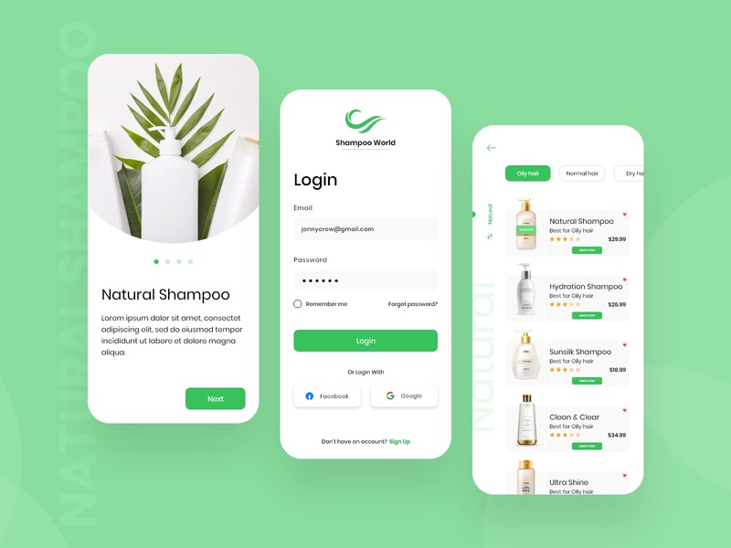 Natural Shampoo Store App new design app development company app development mobile app development company app concept illustration android app branding design concept clean concept app design mobile app design shampoo natural