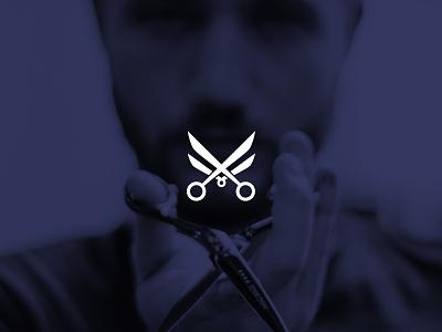 XY Salon minimalism purple men hair barbershop scissor cut x minimal design logo salon shop