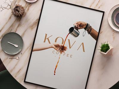 KOVA Coffee Branding rustic typography simple beverages cafe logo turnkey branding