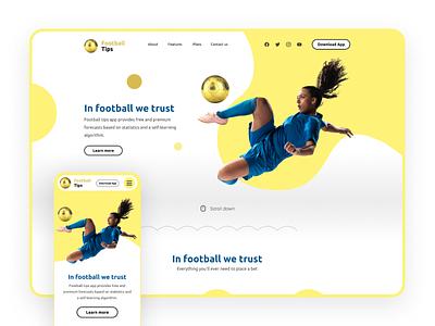 Football Tips - Mobile app's Web Landing page ui ux branding minimal web ui design homepage design design