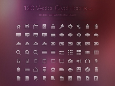 Freebie - 120 Vector Glyph Icons