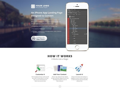 iPhone App Landing Page Template iphone app template ui ux design landing page iphone 5s