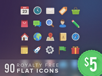 90 Royalty Free Flat Icons Deal