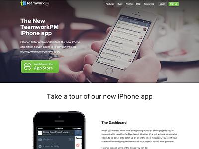 TeamworkPM iPhone App Landing Page iphone ios ios7 app teamwork teamworkpm project management project manager landing page
