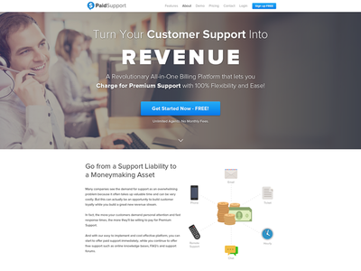 Paid Support - Platform for Premium Support support premium cta home page landing page ui design call to action