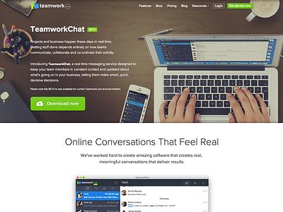 TeamworkChat (beta) teamwork teamworkpm chat app software saas header landing page project management hero image
