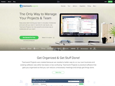 Teamwork Projects Landing home page landing page project manager software collaboration saas projects teamwork teamwork.com