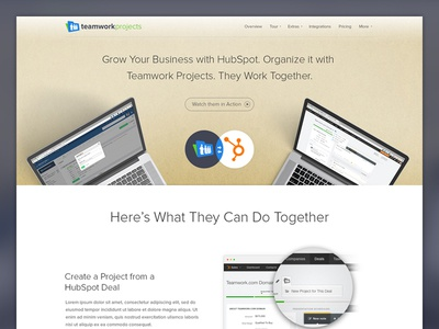 Teamwork Projects Integrates with HubSpot project management landing page teamwork projects saas productivity marketing integration hubspot teamwork