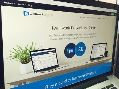 Teamwork Projects vs. Asana - Landing Page productivity project management teamwork projects landing page saas software app asana teamwork