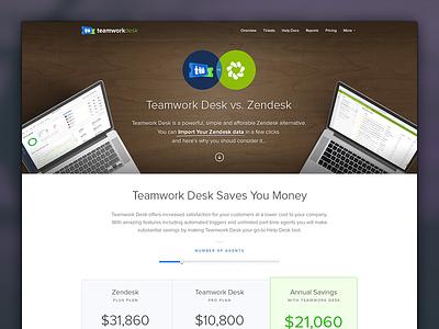 Teamwork Desk vs. Zendesk landing page teamwork desk help desk software saas alternative zendesk teamwork.com teamwork