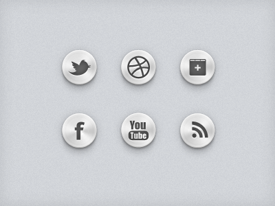 Social Media UI Buttons social media icon set shape vector mono chrome monotype twitter tweet dribbble google facebook rss psd free freebie design ui button metalic grey scale google plus you tube