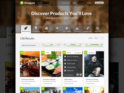 Shopgate web ui ux design shop shopping store catalog business social navigation menu tabs icons filter slider deals