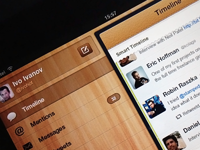 Twitter Client for iPad - Concept ipad ios app twitter client tweet menu navigation icons smart timeline stream wood wooden leather texture pattern