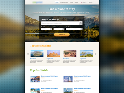 Hotels Search & Booking Portal hotel travel search form booking portal ui destination