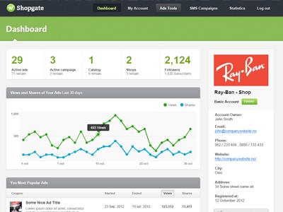 Shopgate Admin Dashboard admin dashboard ui app navigation stats statistics analytics ads