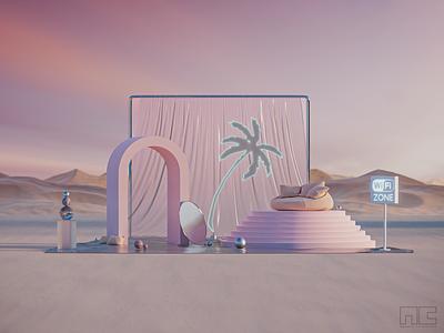 WiFi Zone is the new oasis branding design blender3d product concept 3d artist modern 3d art render design blender