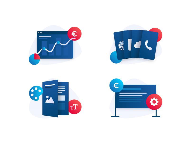 Icons telecom telecom illustration offers settings data cloud call charts dashboard icons set